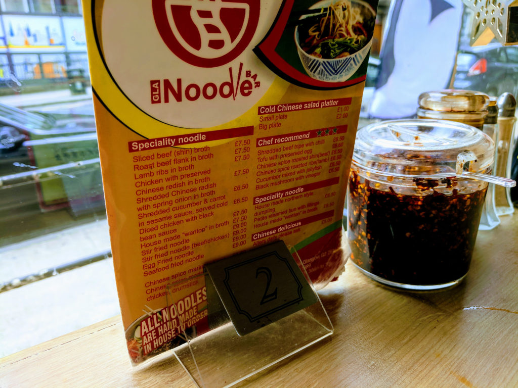 Noodle, Glasgow - Menu