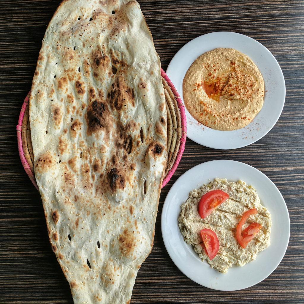 Hummus, Salad-e Olivieh & Persian Naan - Sholeh, Glasgow