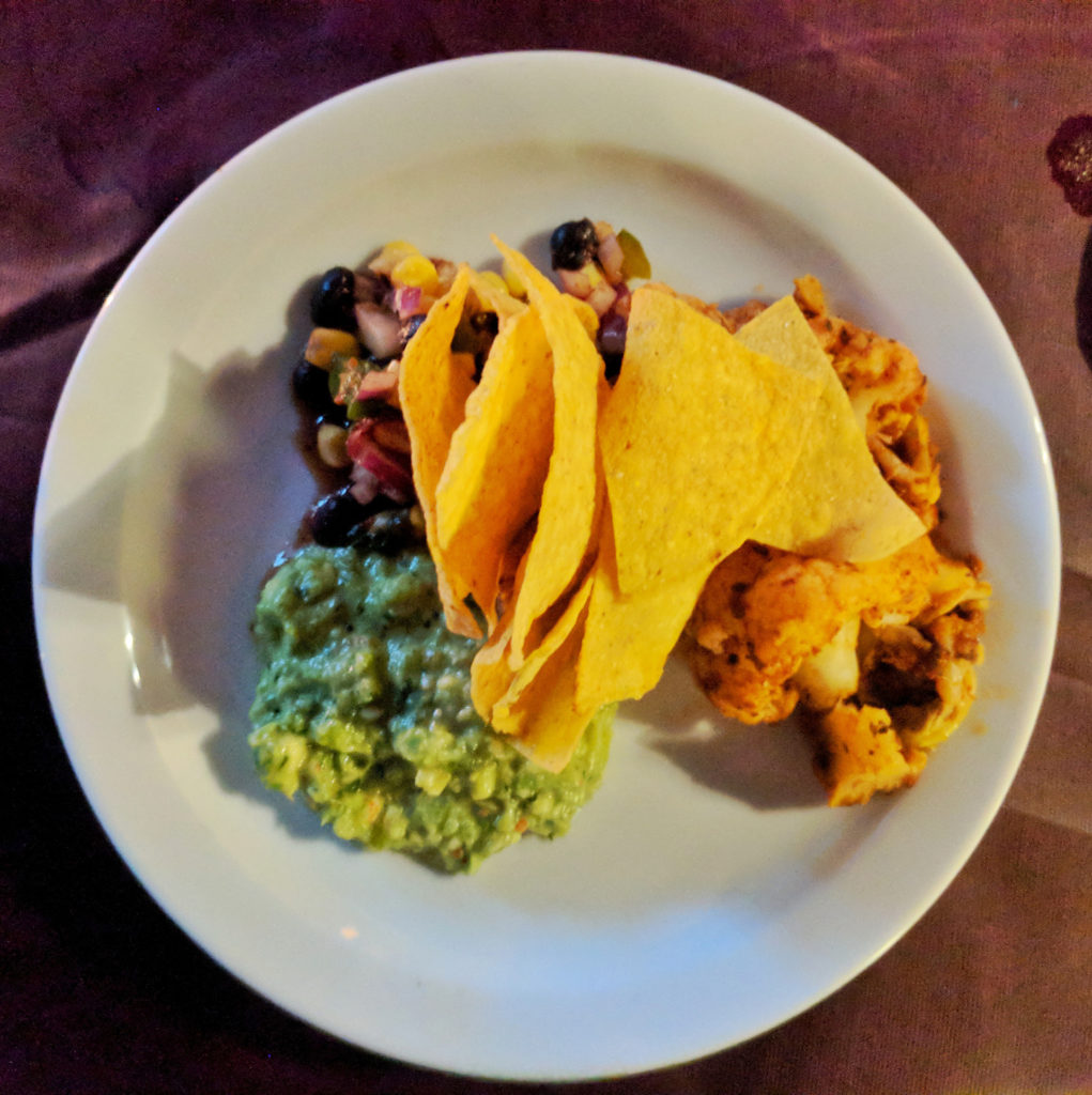 Buffalo cauliflower, black bean & corn salsa, guacamole - The Bungo, Glasgow