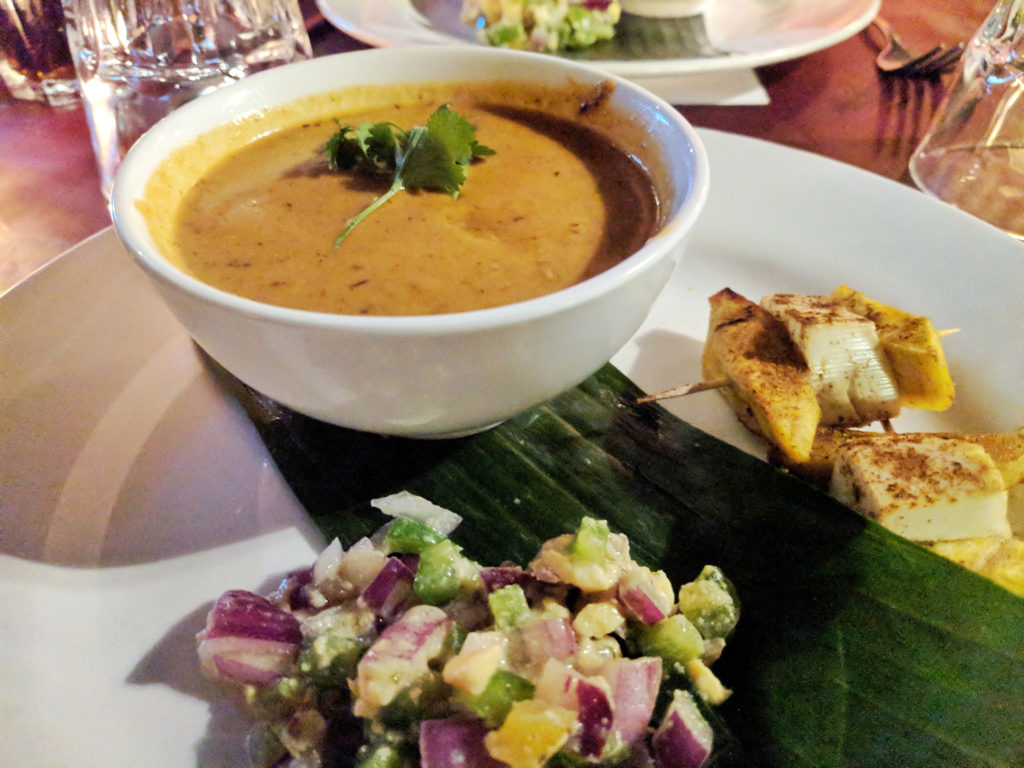 Jamaican sweet potato curry, ackee salad, plantain & tofu kebab - The Bungo, Glasgow